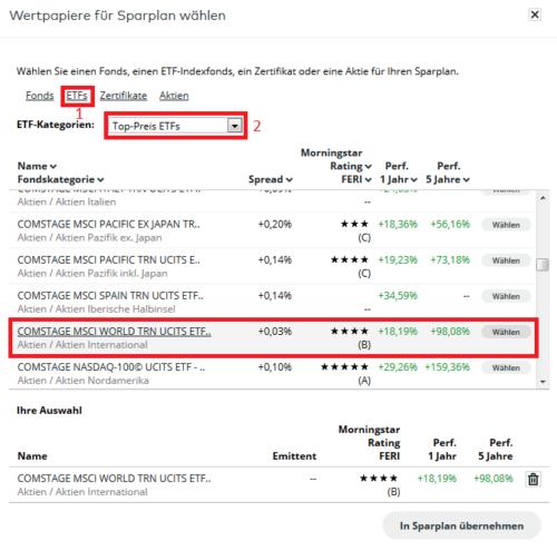 Auswahl eines passenden ETFs über die Wertpapier-Suche