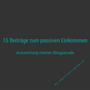 15 Beiträge zum passiven Einkommen - Auswertung meiner Blogparade