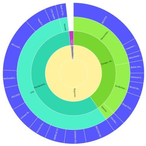 Die Aufteilung meines Aktien-Depots nach einzelnen Regionen