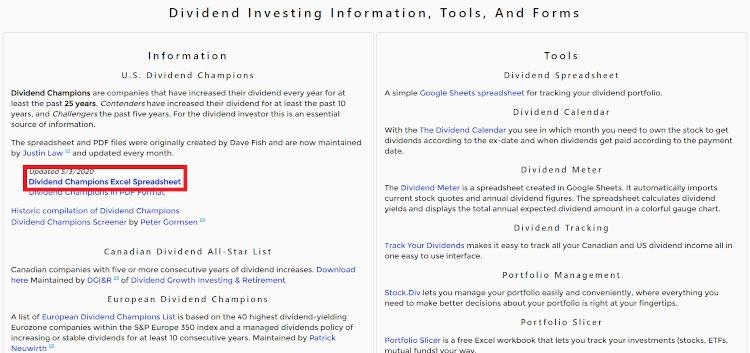 Hier kannst du die David Fish Liste im Dividend Investing Resource Center herunterladen