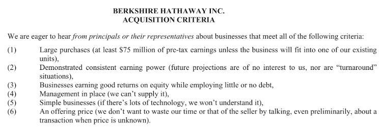 Die 6 Kaufkriterien von Warren Buffett